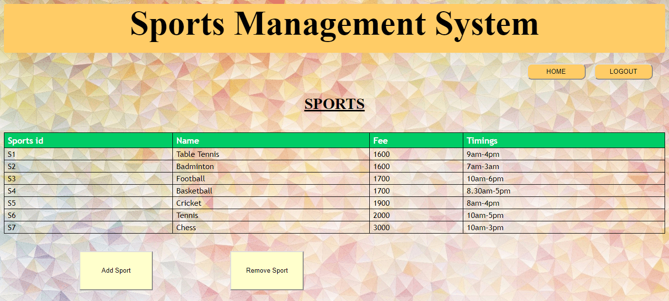 Sports Management System Project in Java | projectworlds
